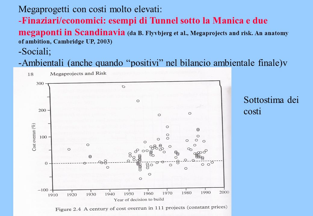 Megaprogetti con costi molto elevati: -Finaziari/economici: esempi di Tunnel sotto la Manica e due megaponti in Scandinavia (da B. Flyvbjerg et al., M
