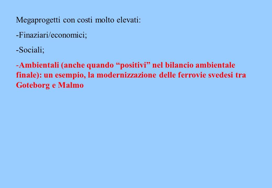 Megaprogetti con costi molto elevati: -Finaziari/economici; -Sociali; -Ambientali (anche quando positivi nel bilancio ambientale finale): un esempio,