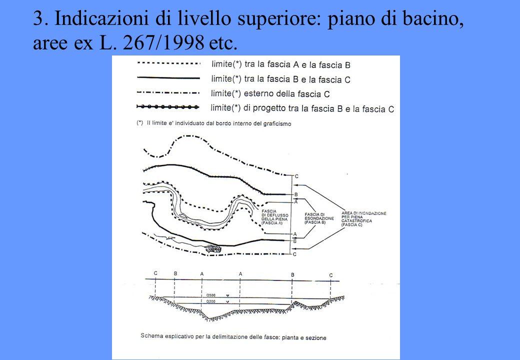 3. Indicazioni di livello superiore: piano di bacino, aree ex L. 267/1998 etc.