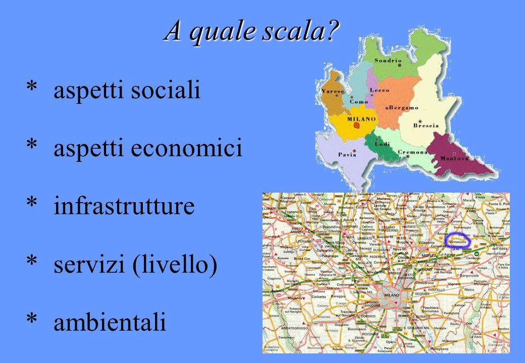 A quale scala? *aspetti sociali *aspetti economici *infrastrutture *servizi (livello) *ambientali