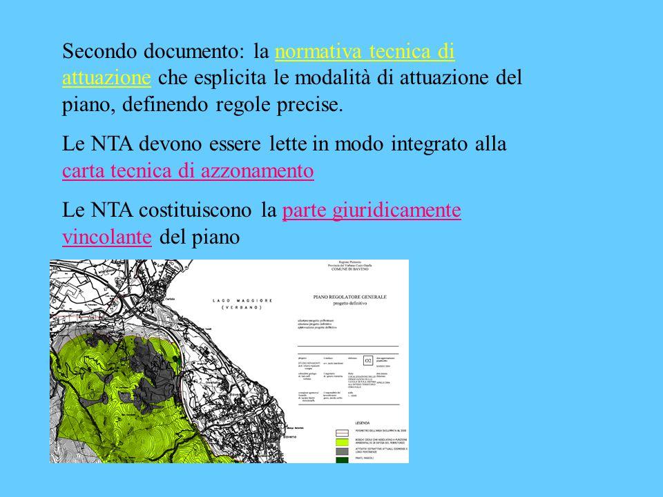 Secondo documento: la normativa tecnica di attuazione che esplicita le modalità di attuazione del piano, definendo regole precise.