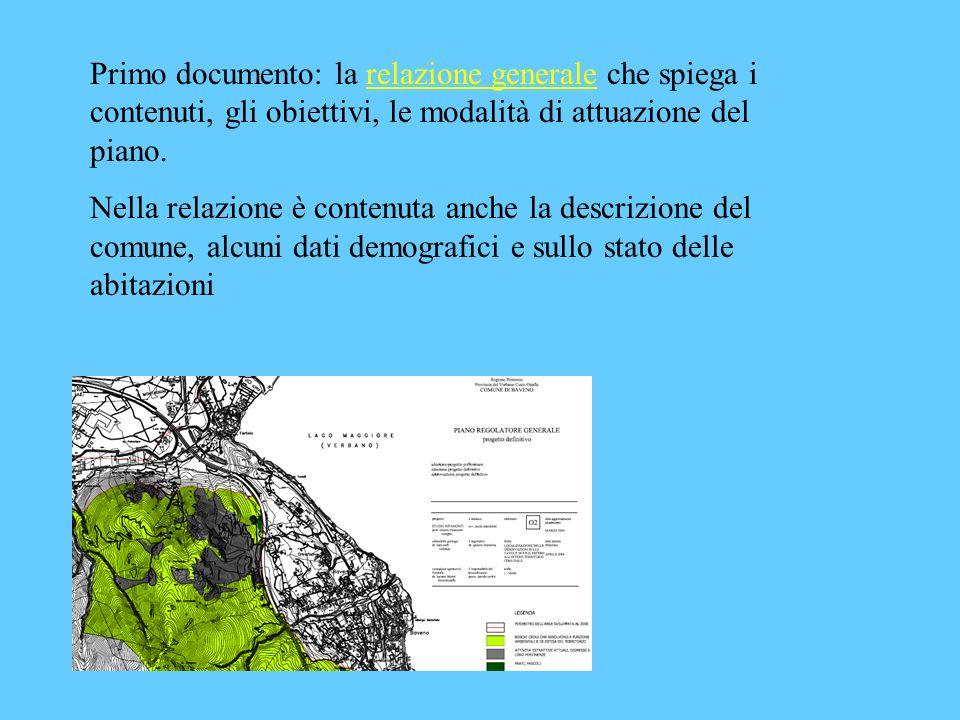 Primo documento: la relazione generale che spiega i contenuti, gli obiettivi, le modalità di attuazione del piano.