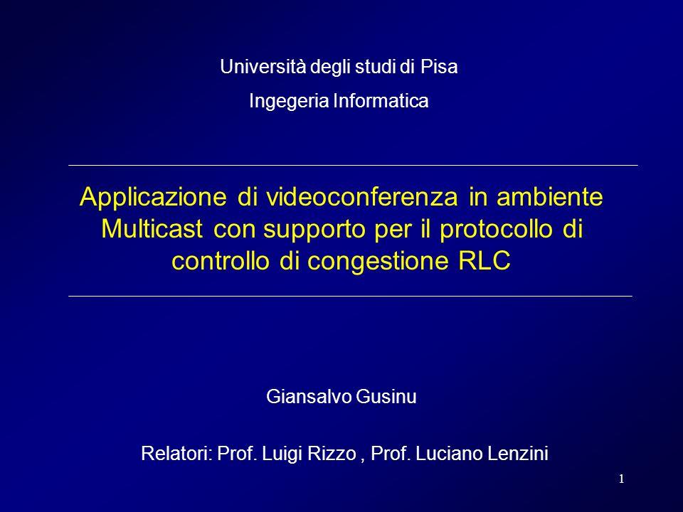 1 Applicazione di videoconferenza in ambiente Multicast con supporto per il protocollo di controllo di congestione RLC Giansalvo Gusinu Relatori: Prof.