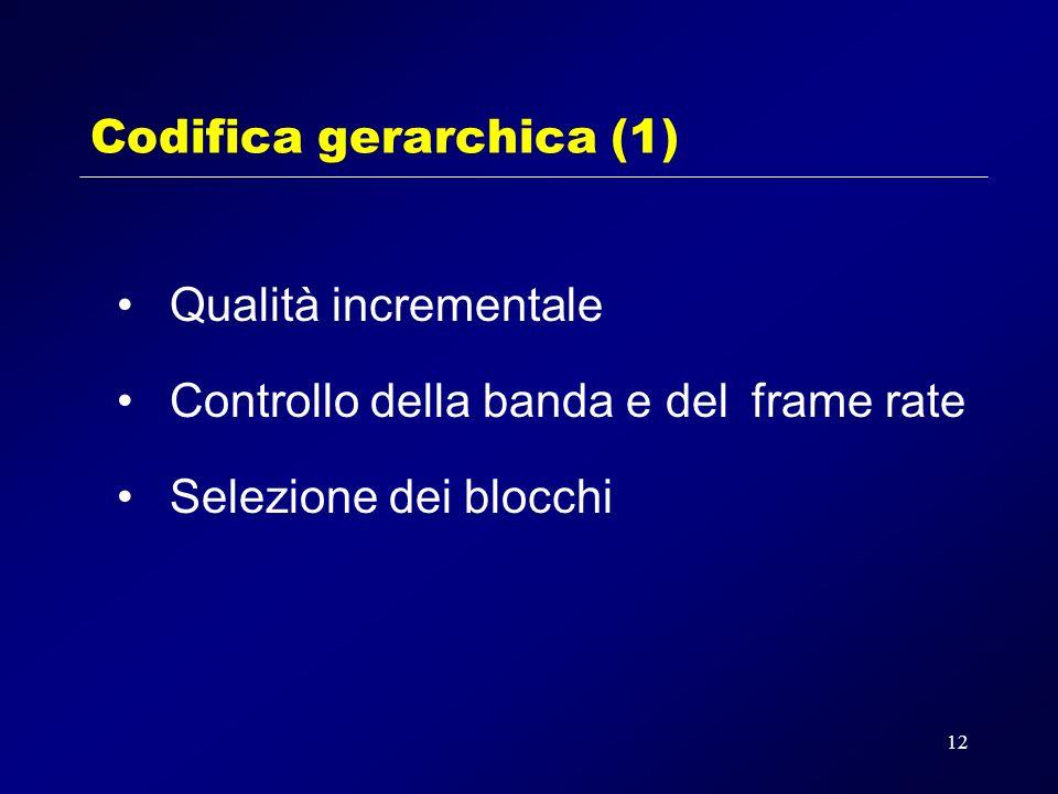12 Codifica gerarchica (1) Qualità incrementale Controllo della banda e del frame rate Selezione dei blocchi