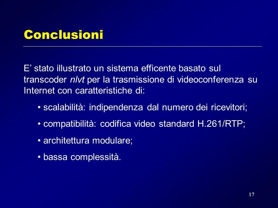 17 Conclusioni E stato illustrato un sistema efficente basato sul transcoder nlvt per la trasmissione di videoconferenza su Internet con caratteristiche di: scalabilità: indipendenza dal numero dei ricevitori; compatibilità: codifica video standard H.261/RTP; architettura modulare; bassa complessità.