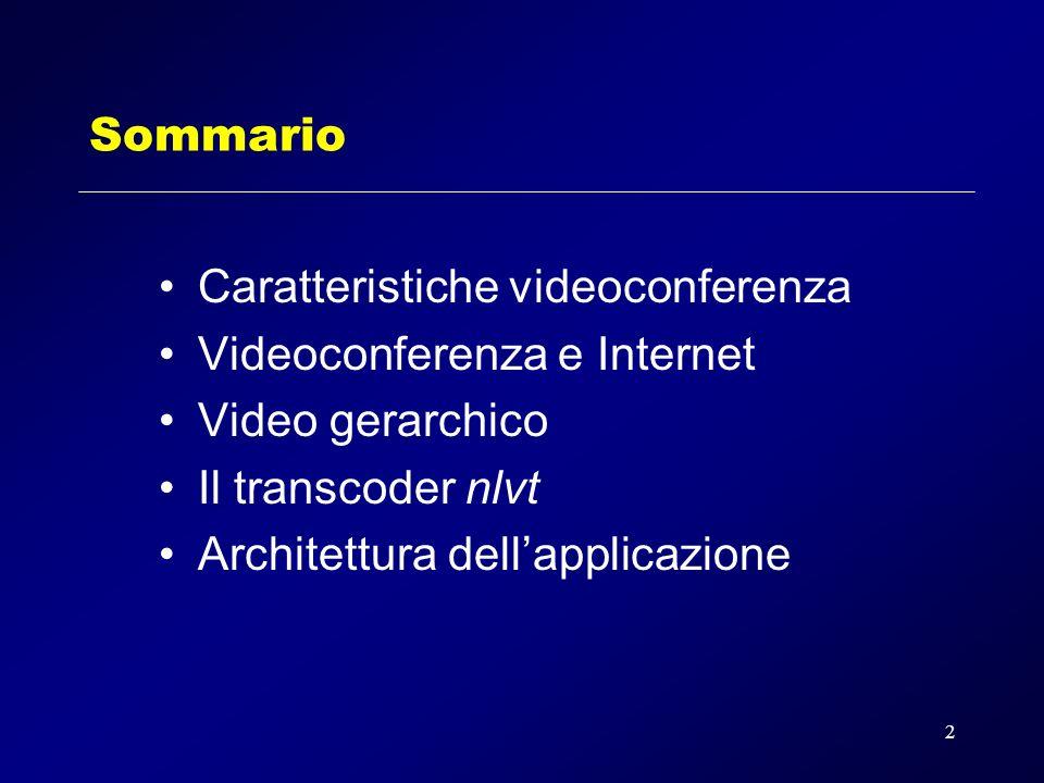 2 Sommario Caratteristiche videoconferenza Videoconferenza e Internet Video gerarchico Il transcoder nlvt Architettura dellapplicazione