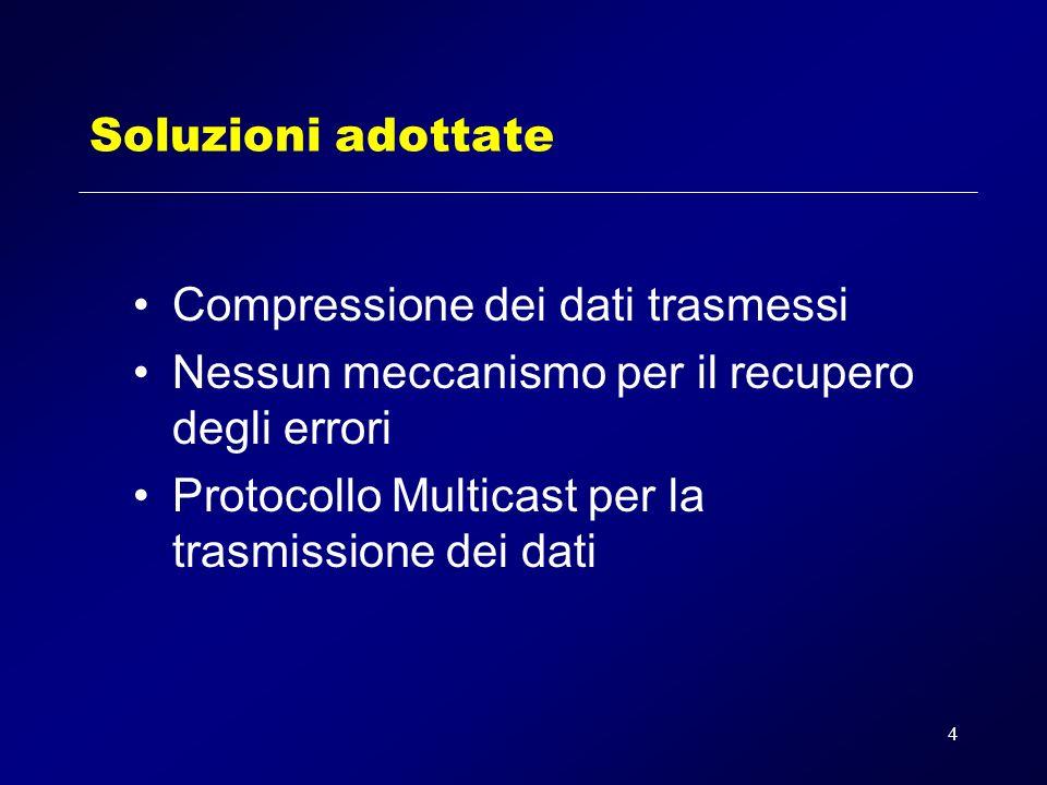 4 Soluzioni adottate Compressione dei dati trasmessi Nessun meccanismo per il recupero degli errori Protocollo Multicast per la trasmissione dei dati