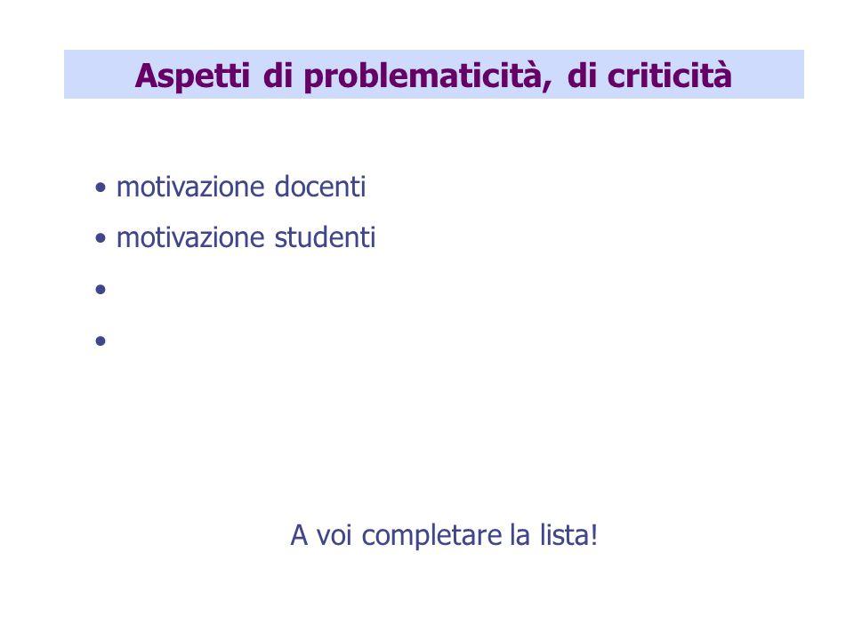 Aspetti di problematicità, di criticità motivazione docenti motivazione studenti A voi completare la lista!