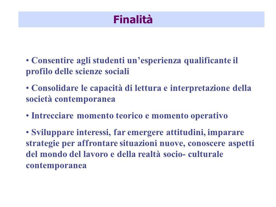 Finalità Consentire agli studenti unesperienza qualificante il profilo delle scienze sociali Consolidare le capacità di lettura e interpretazione dell