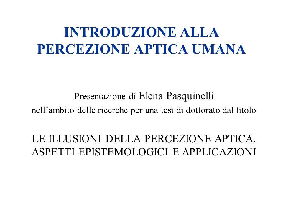 INTRODUZIONE ALLA PERCEZIONE APTICA UMANA Presentazione di Elena Pasquinelli nellambito delle ricerche per una tesi di dottorato dal titolo LE ILLUSIO