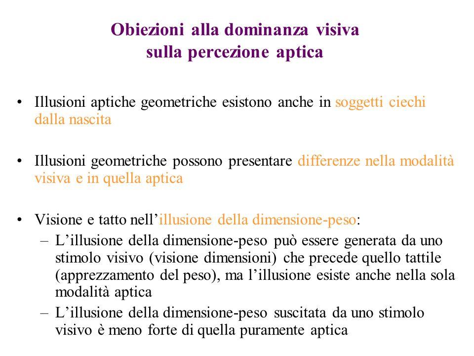 Obiezioni alla dominanza visiva sulla percezione aptica Illusioni aptiche geometriche esistono anche in soggetti ciechi dalla nascita Illusioni geomet