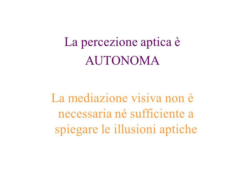 La percezione aptica è AUTONOMA La mediazione visiva non è necessaria né sufficiente a spiegare le illusioni aptiche