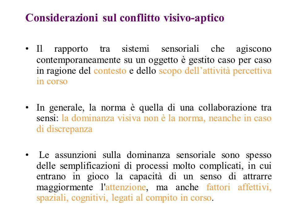 Considerazioni sul conflitto visivo-aptico Il rapporto tra sistemi sensoriali che agiscono contemporaneamente su un oggetto è gestito caso per caso in