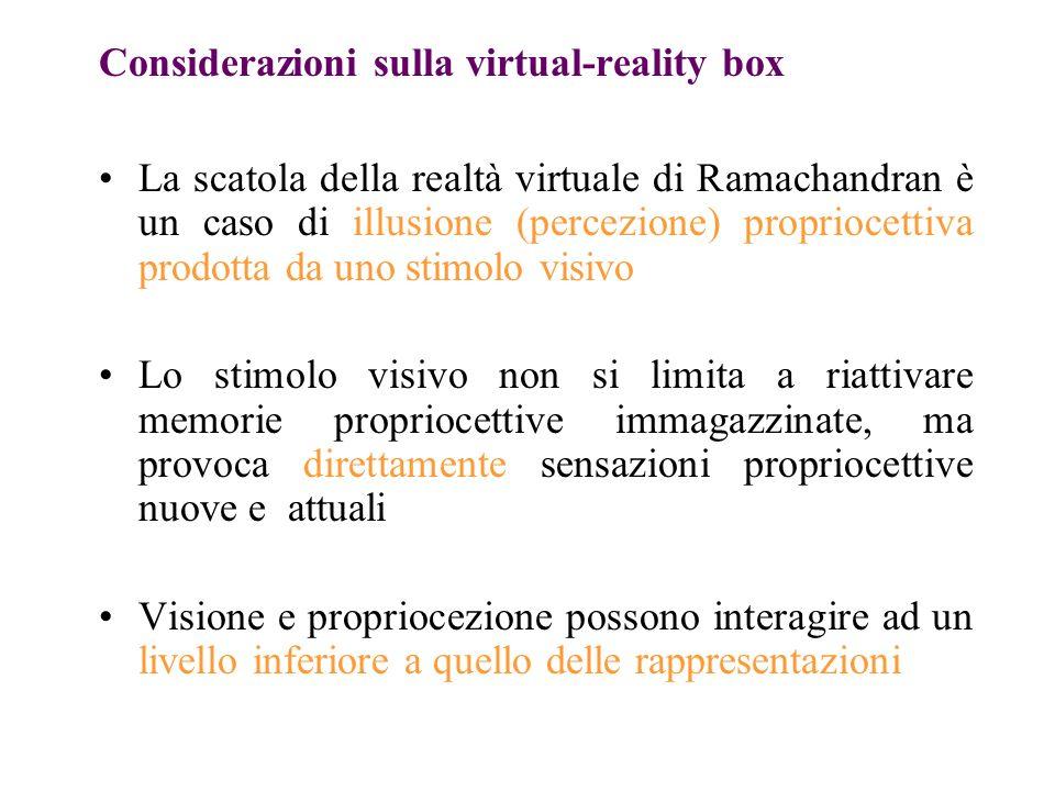 Considerazioni sulla virtual-reality box La scatola della realtà virtuale di Ramachandran è un caso di illusione (percezione) propriocettiva prodotta