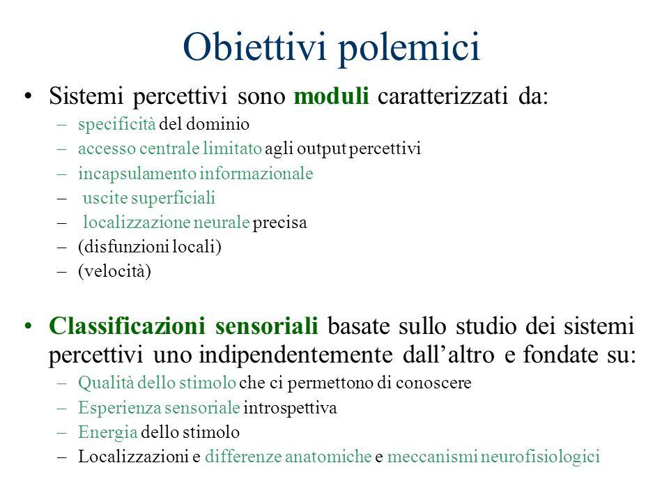 Obiettivi polemici Sistemi percettivi sono moduli caratterizzati da: –specificità del dominio –accesso centrale limitato agli output percettivi –incap
