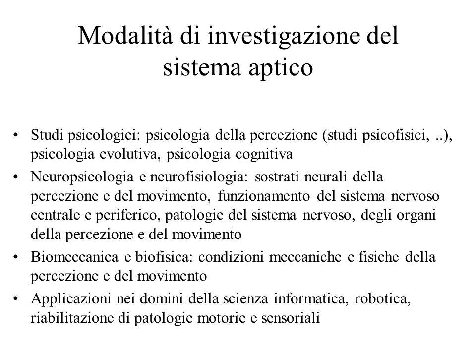 Modalità di investigazione del sistema aptico Studi psicologici: psicologia della percezione (studi psicofisici,..), psicologia evolutiva, psicologia