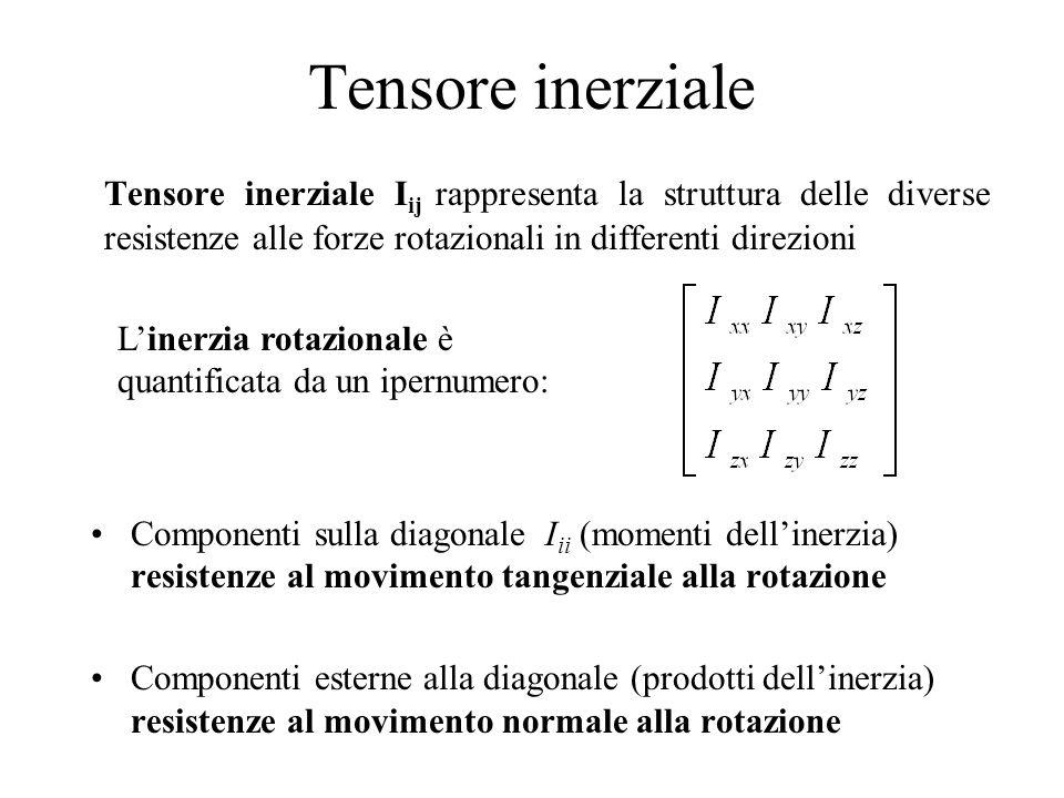 Tensore inerziale Tensore inerziale I ij rappresenta la struttura delle diverse resistenze alle forze rotazionali in differenti direzioni Componenti s