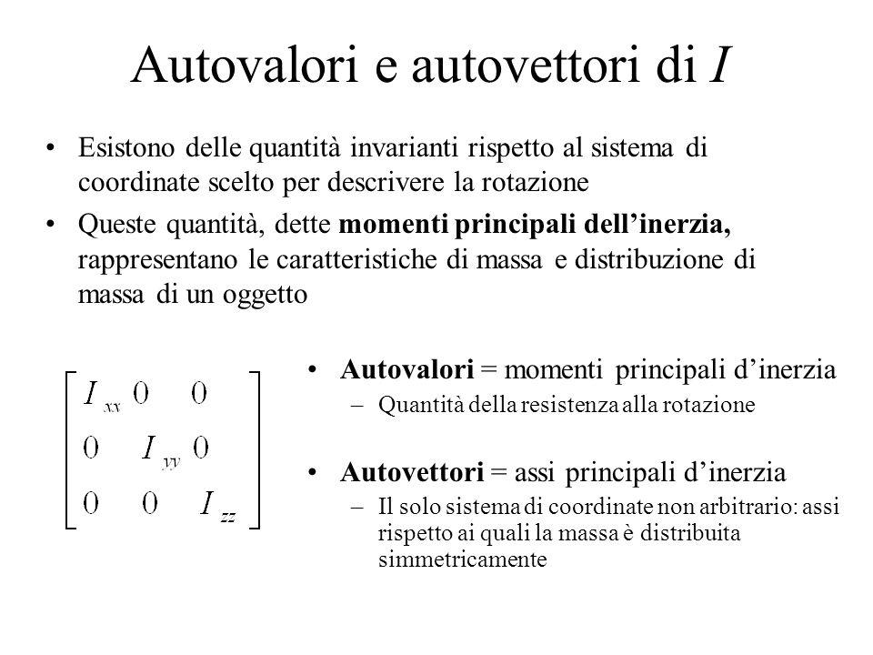 Autovalori e autovettori di I Esistono delle quantità invarianti rispetto al sistema di coordinate scelto per descrivere la rotazione Queste quantità,