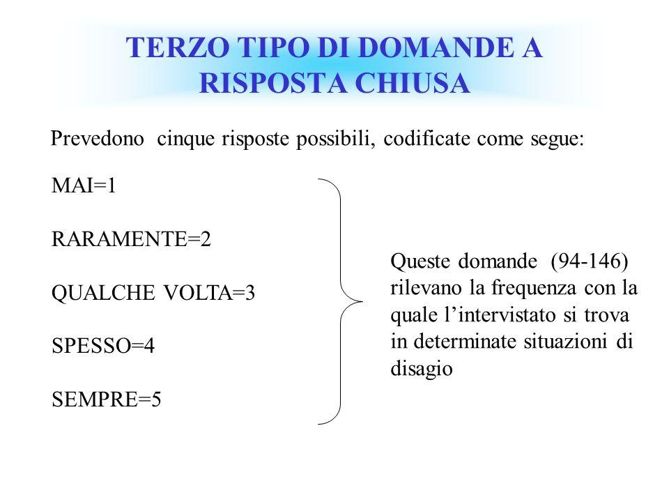 TERZO TIPO DI DOMANDE A RISPOSTA CHIUSA MAI=1 RARAMENTE=2 QUALCHE VOLTA=3 SPESSO=4 SEMPRE=5 Queste domande (94-146) rilevano la frequenza con la quale