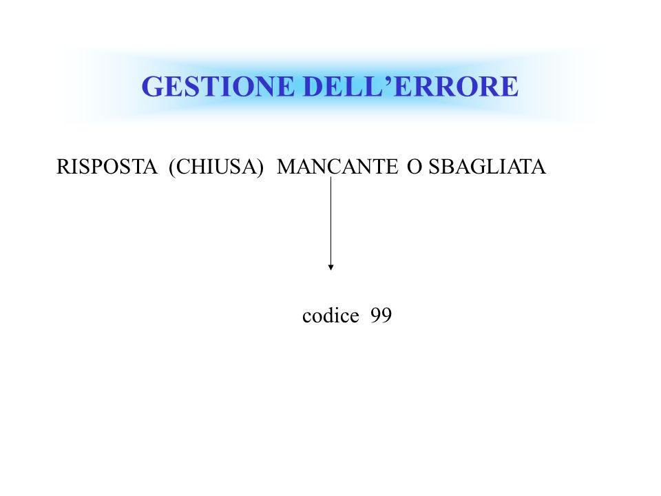 GESTIONE DELLERRORE RISPOSTA (CHIUSA) MANCANTE O SBAGLIATA codice 99