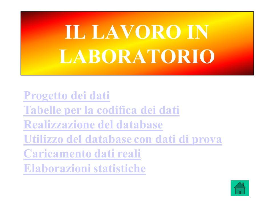 IL LAVORO IN LABORATORIO Progetto dei dati Tabelle per la codifica dei dati Realizzazione del database Utilizzo del database con dati di prova Caricam