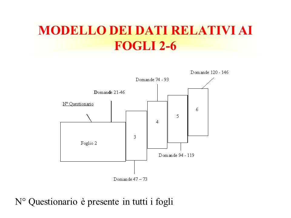 MODELLO DEI DATI RELATIVI AI FOGLI 2-6 N° Questionario è presente in tutti i fogli