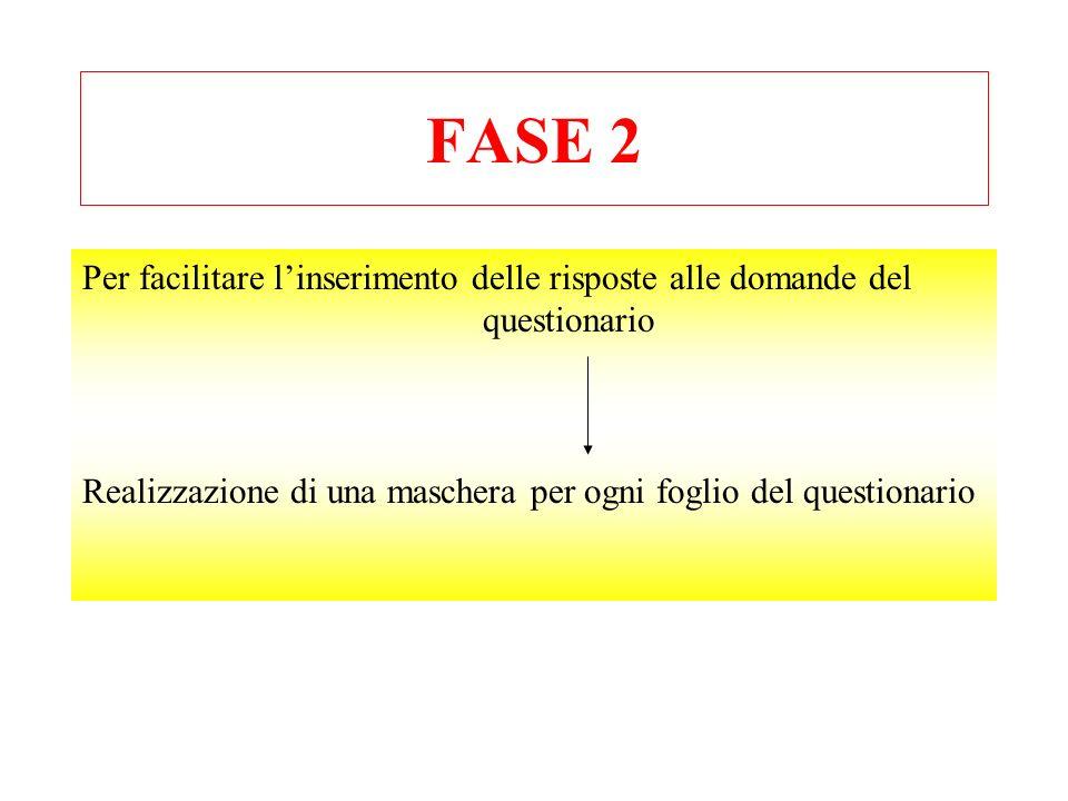 FASE 2 Per facilitare linserimento delle risposte alle domande del questionario Realizzazione di una maschera per ogni foglio del questionario