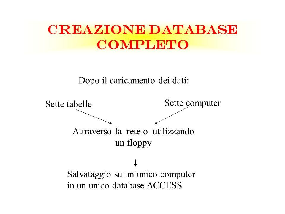 CREAZIONE DATABASE COMPLETO Dopo il caricamento dei dati: Sette tabelle Sette computer Attraverso la rete o utilizzando un floppy Salvataggio su un un