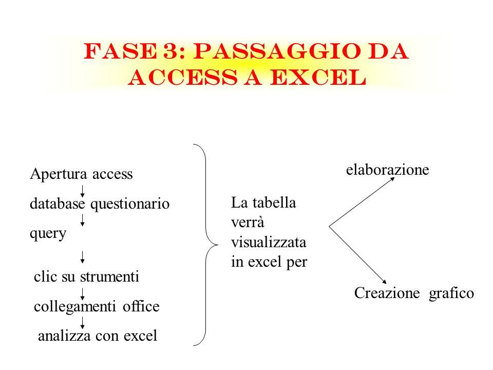 FASE 3: PASSAGGIO DA ACCESS A EXCEL Apertura access database questionario query clic su strumenti collegamenti office analizza con excel La tabella ve
