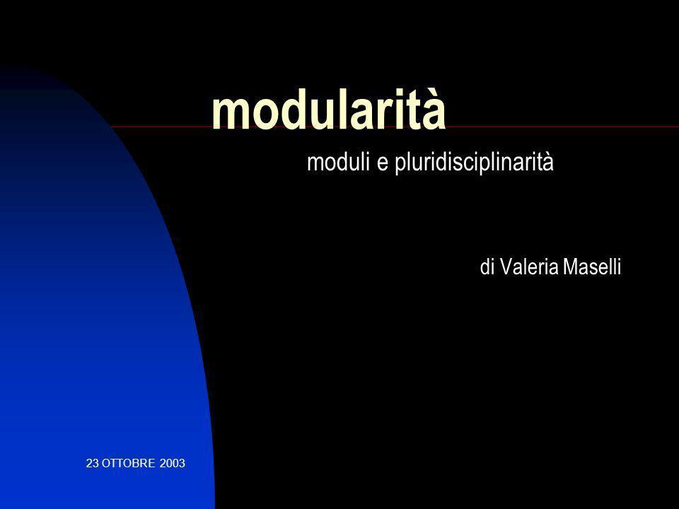 modularità moduli e pluridisciplinarità di Valeria Maselli 23 OTTOBRE 2003