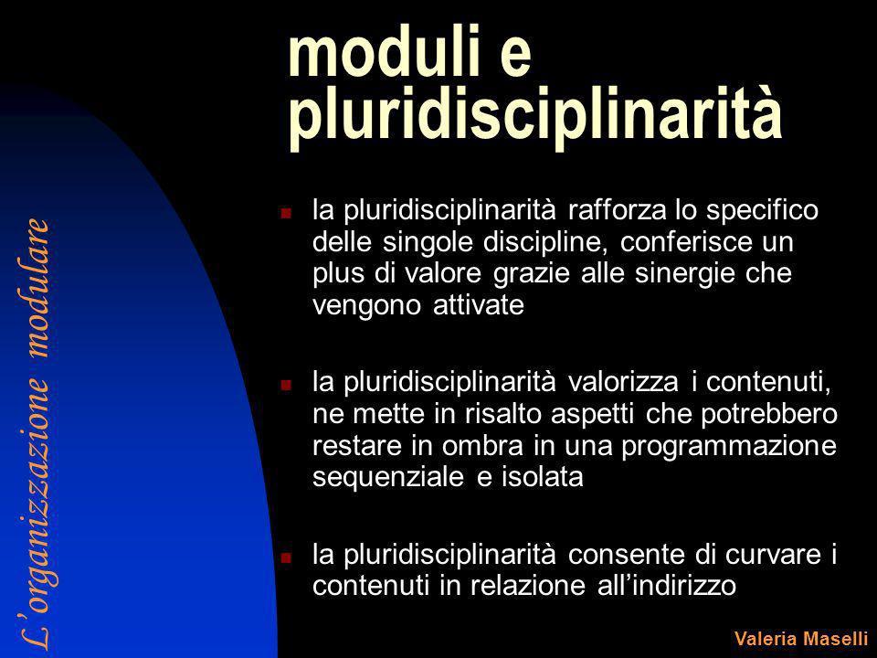 moduli e pluridisciplinarità la pluridisciplinarità rafforza lo specifico delle singole discipline, conferisce un plus di valore grazie alle sinergie