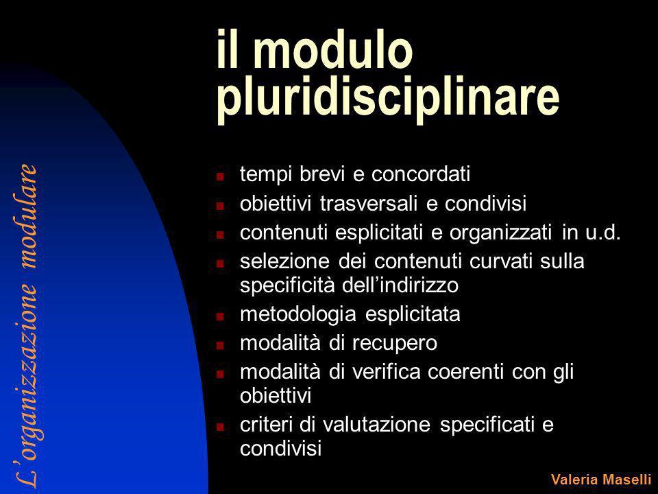 il modulo pluridisciplinare tempi brevi e concordati obiettivi trasversali e condivisi contenuti esplicitati e organizzati in u.d. selezione dei conte