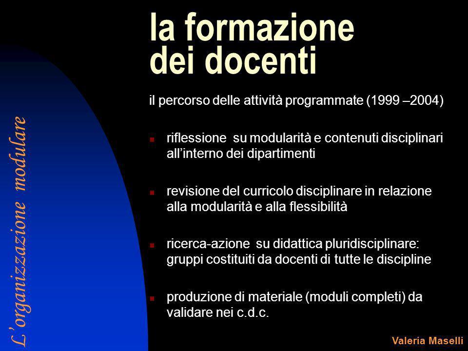 la formazione dei docenti il percorso delle attività programmate (1999 –2004) riflessione su modularità e contenuti disciplinari allinterno dei dipart