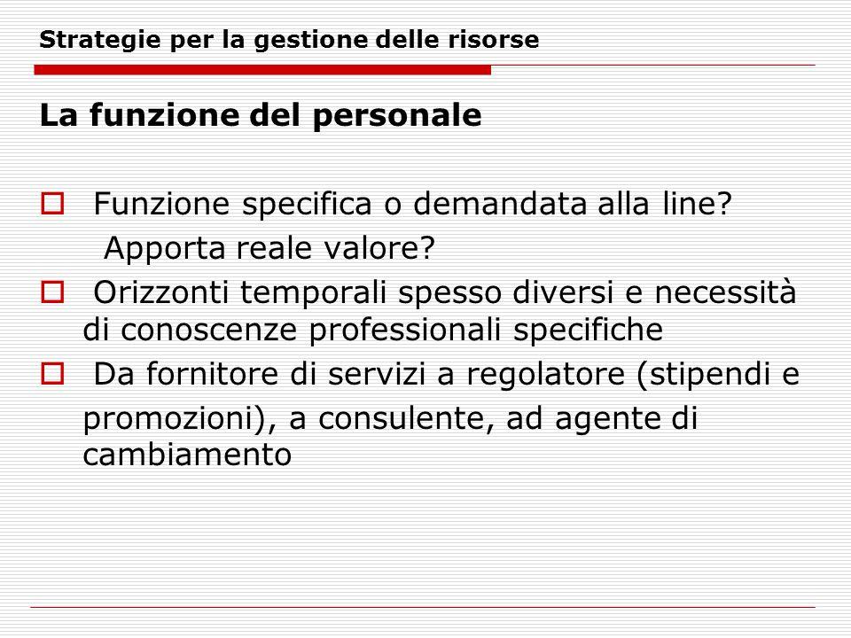 Strategie per la gestione delle risorse La funzione del personale Funzione specifica o demandata alla line.