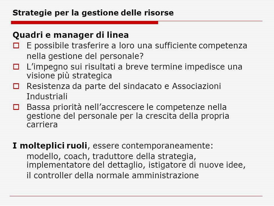 Strategie per la gestione delle risorse Quadri e manager di linea E possibile trasferire a loro una sufficiente competenza nella gestione del personale.
