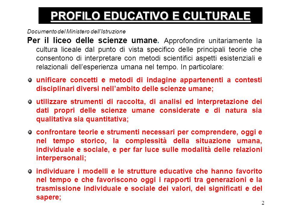 2 PROFILO EDUCATIVO E CULTURALE Per il liceo delle scienze umane.