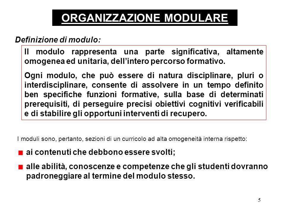5 ORGANIZZAZIONE MODULARE Il modulo rappresenta una parte significativa, altamente omogenea ed unitaria, dellintero percorso formativo.