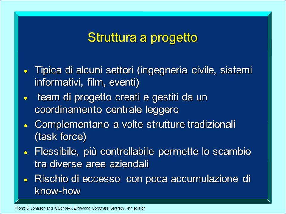 From: G Johnson and K Scholes, Exploring Corporate Strategy, 4th edition Struttura a progetto Tipica di alcuni settori (ingegneria civile, sistemi inf