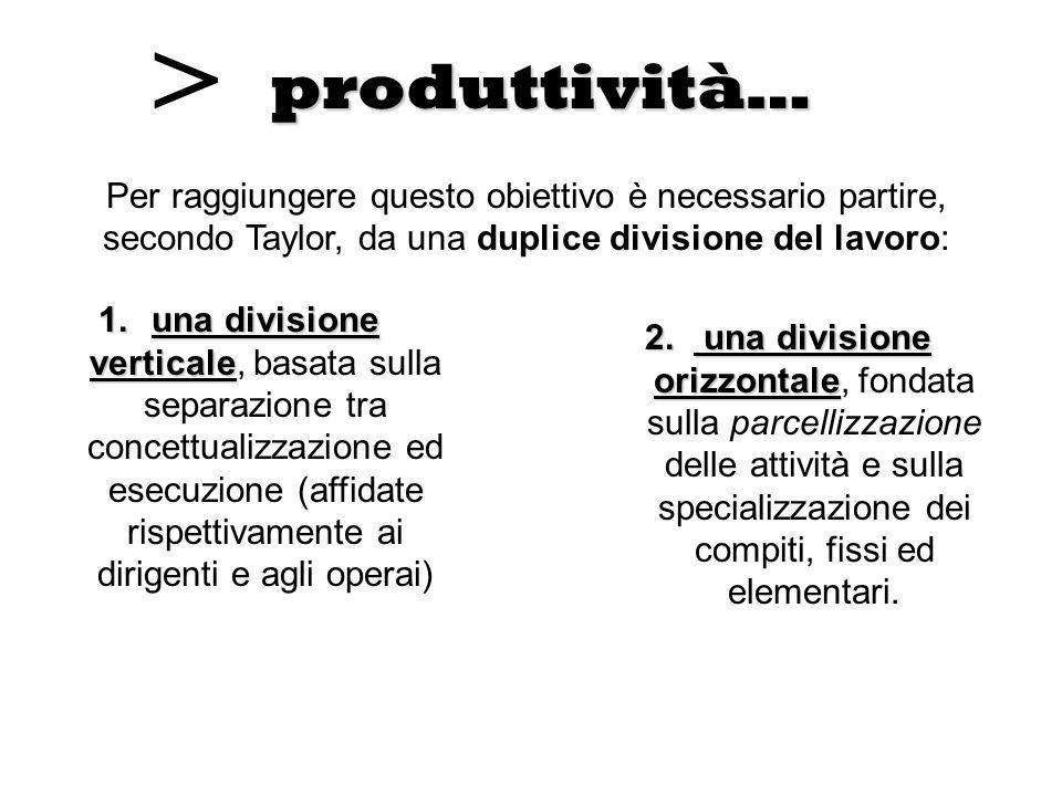 produttività… 2. una divisione orizzontale 2. una divisione orizzontale, fondata sulla parcellizzazione delle attività e sulla specializzazione dei co