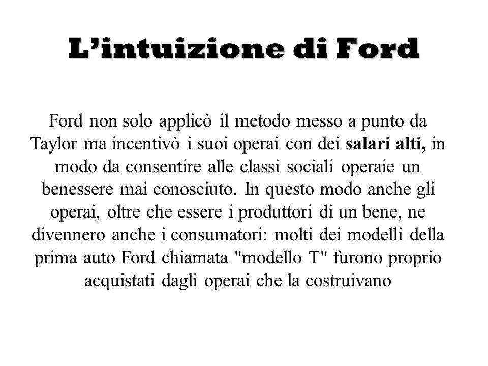 Lintuizione di Ford Ford non solo applicò il metodo messo a punto da Taylor ma incentivò i suoi operai con dei salari alti, in modo da consentire alle