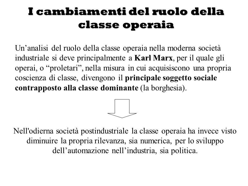 I cambiamenti del ruolo della classe operaia Nell'odierna società postindustriale la classe operaia ha invece visto diminuire la propria rilevanza, si
