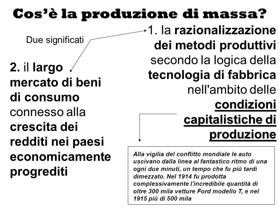 Cosè la produzione di massa? 2. il largo mercato di beni di consumo connesso alla crescita dei redditi nei paesi economicamente progrediti condizioni