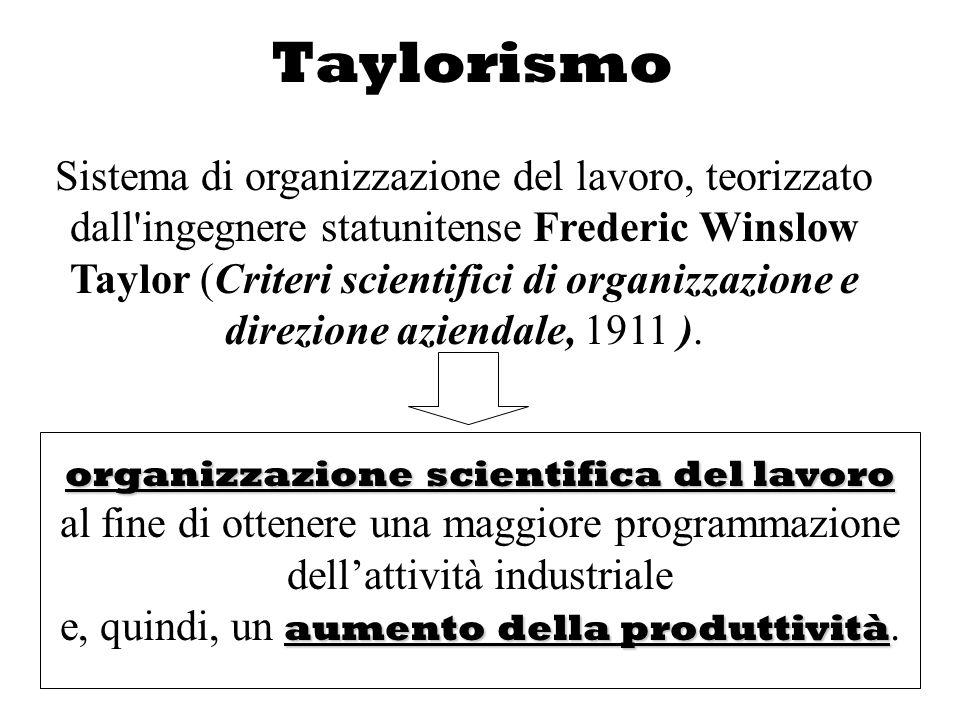 Taylorismo Sistema di organizzazione del lavoro, teorizzato dall'ingegnere statunitense Frederic Winslow Taylor (Criteri scientifici di organizzazione