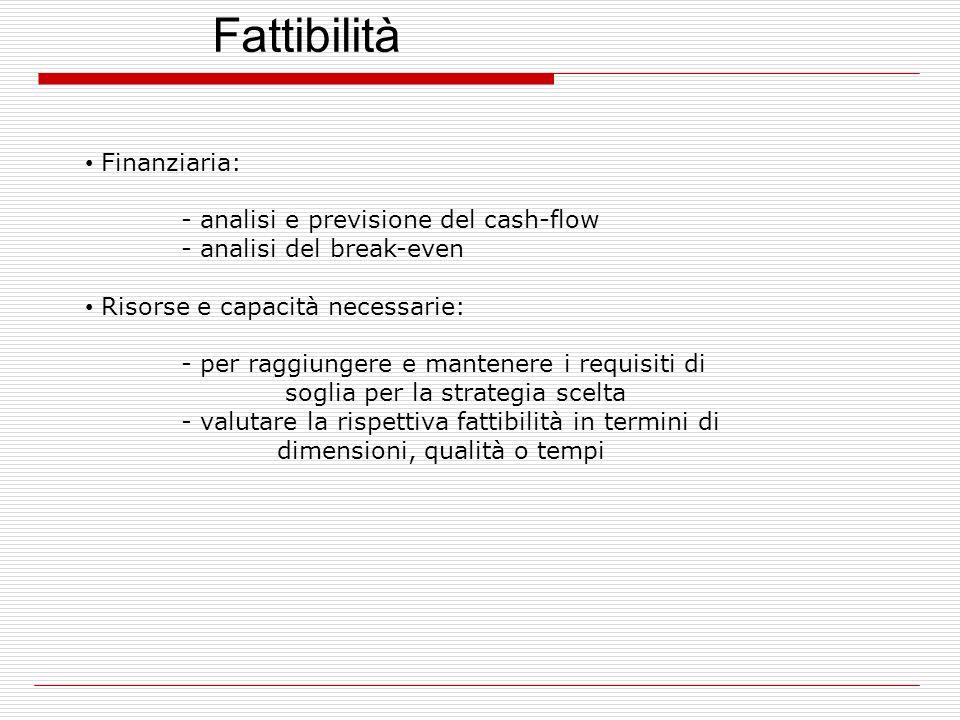 Fattibilità Finanziaria: - analisi e previsione del cash-flow - analisi del break-even Risorse e capacità necessarie: - per raggiungere e mantenere i requisiti di soglia per la strategia scelta - valutare la rispettiva fattibilità in termini di dimensioni, qualità o tempi