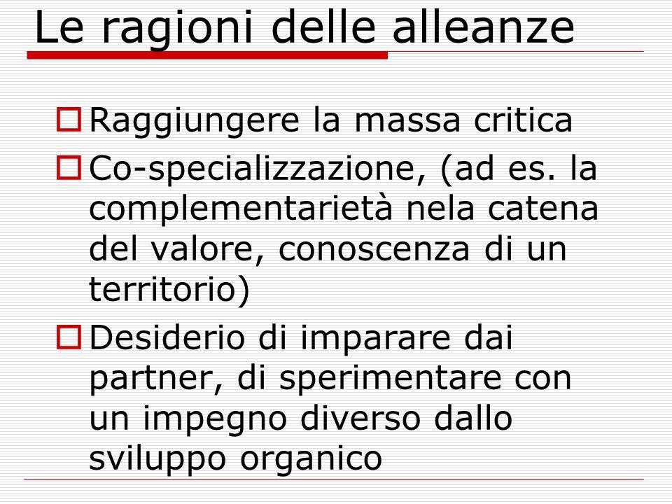 Le ragioni delle alleanze Raggiungere la massa critica Co-specializzazione, (ad es.