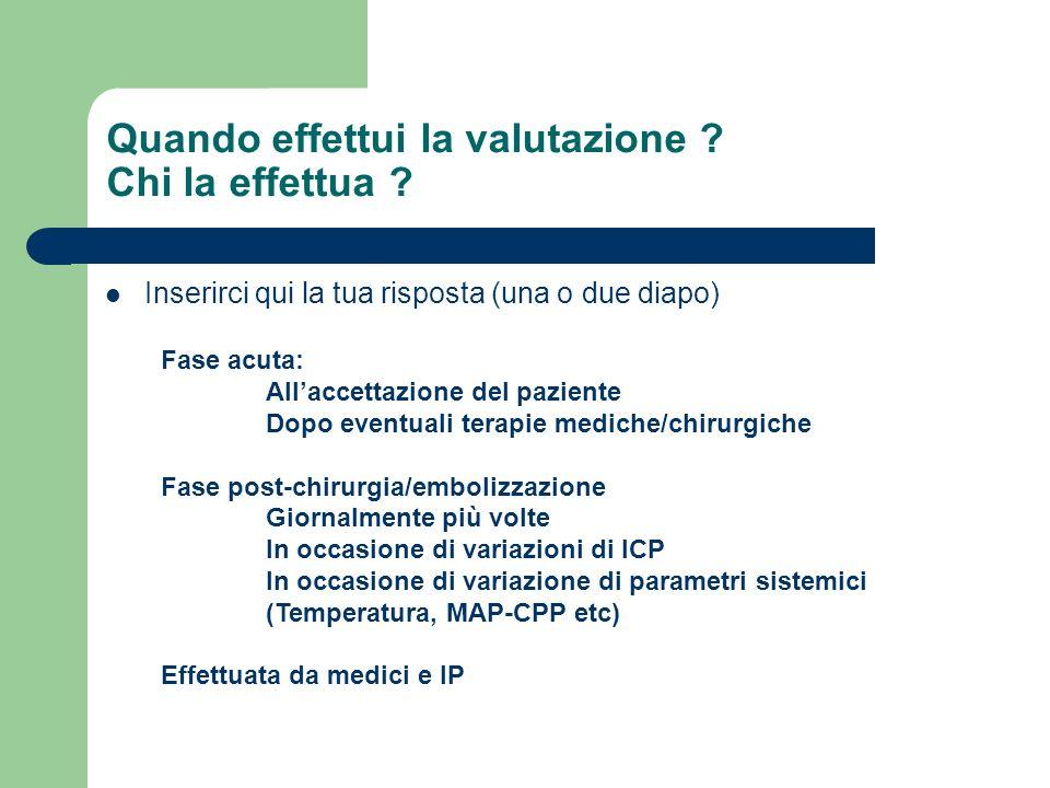 Quando effettui la valutazione ? Chi la effettua ? Inserirci qui la tua risposta (una o due diapo) Fase acuta: Allaccettazione del paziente Dopo event