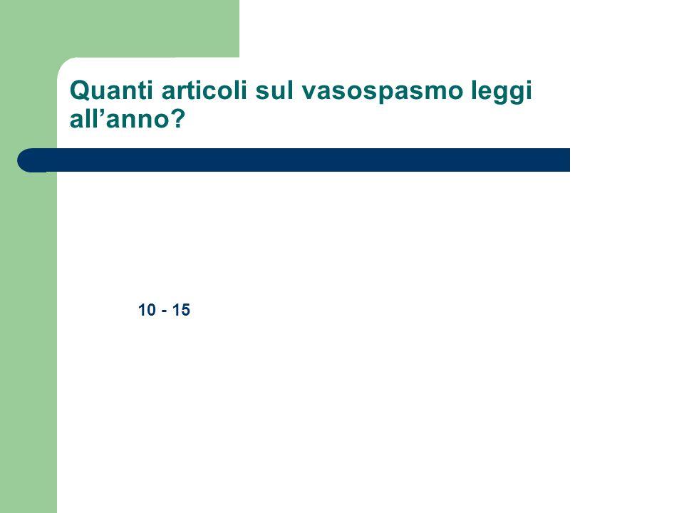 Quanti articoli sul vasospasmo leggi allanno? 10 - 15