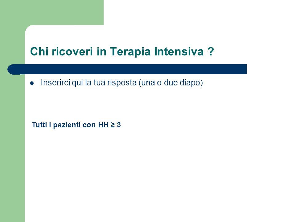 Chi ricoveri in Terapia Intensiva ? Inserirci qui la tua risposta (una o due diapo) Tutti i pazienti con HH 3