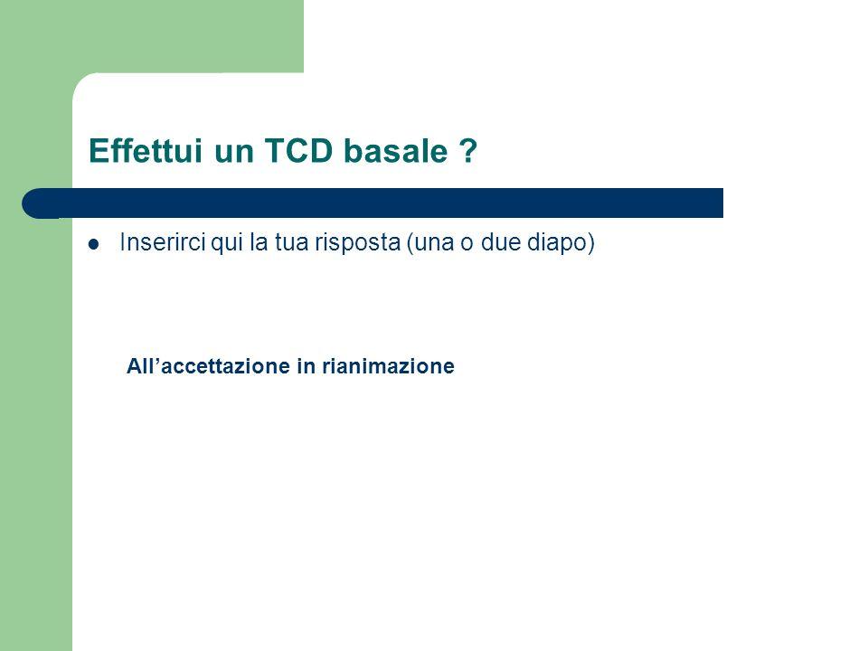Effettui un TCD basale ? Inserirci qui la tua risposta (una o due diapo) Allaccettazione in rianimazione