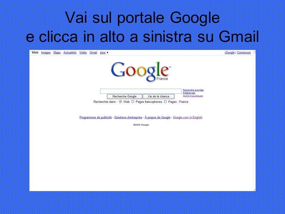 Vai sul portale Google e clicca in alto a sinistra su Gmail